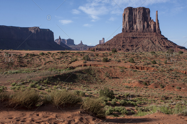 Landscape views at Monument Valley, near the  Arizona - Utah border.