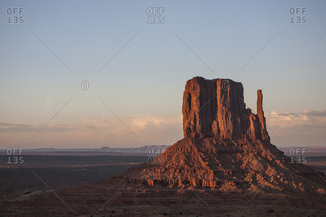 Sunset at Monument Valley, on the border of Utah and Arizona.