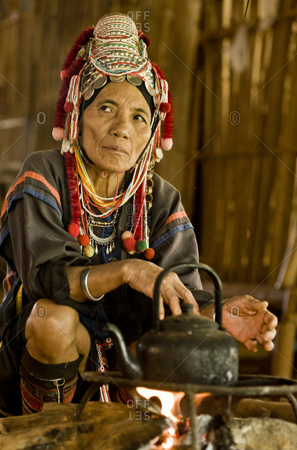 Akha tribe woman wearing traditional clothes