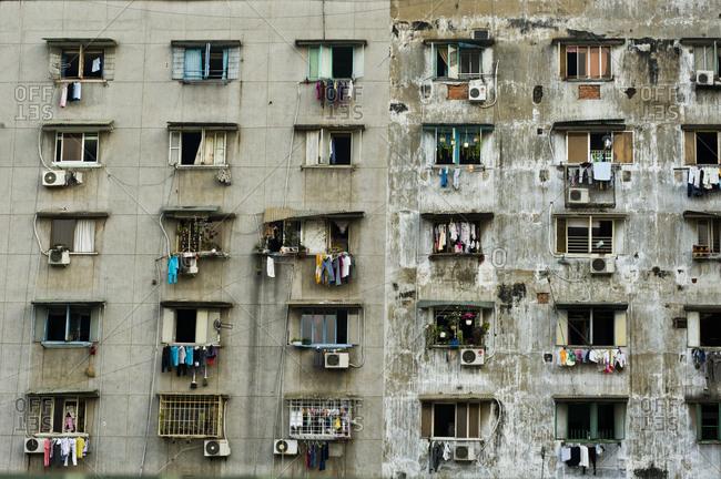 Vietnam, Ho Chi Minh City, Ho Chi Minh City - February 14, 2011: Slum building in Saigon outskirts