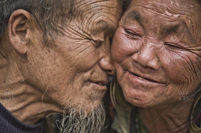 Vietnam, Lao Cai - March 14, 2011: Old Hmong couple in love on Sapa City