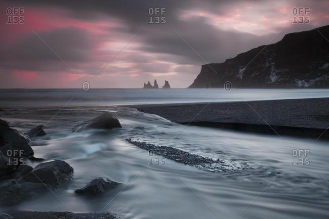 Reynisdrangar pinnacles, Vik i Myrdal, Myrdalur, Southern Region, Iceland, Europe