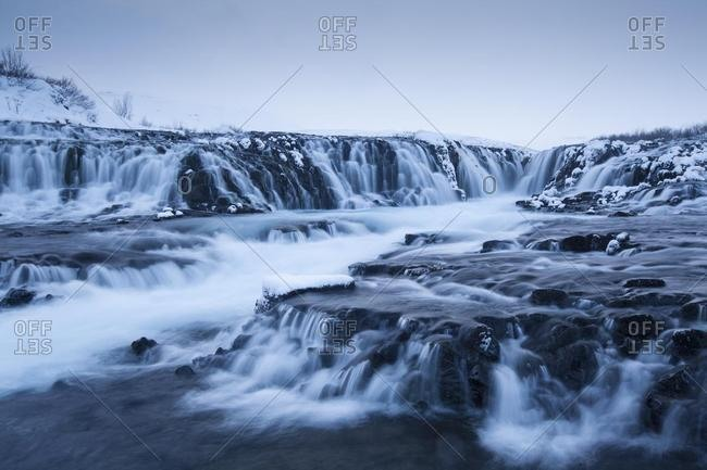 Waterfall Bruarfoss in winter, Selfoss, Southern Region, Iceland, Europe