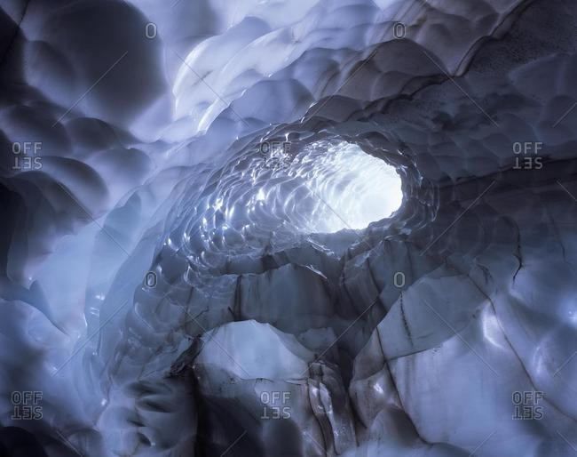 Inside the ice cave near the mountain Hrafntinnusker, Laugavegur, Landmannalaugar, Iceland, Europe