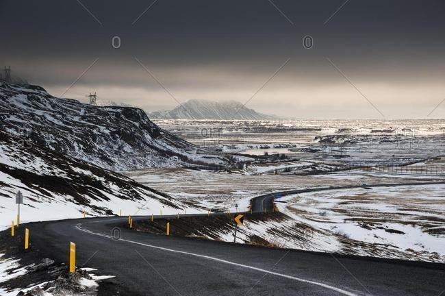 Paved road, winter landscape, South Iceland, Suoland, Iceland, Europe