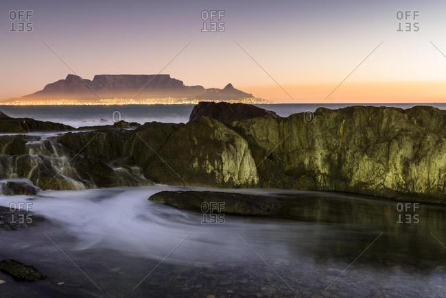 Table Mountain, Lion's Head and Devil's Peak in the evening light, panoramic views of Cape Town, Bloubergstrand beach, Table Bay, Atlantic Ocean, Cape Town, Western Cape, South Africa, Africa