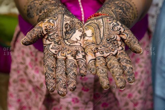 Close up of mehendi on bride's hand, Mauritius, Africa