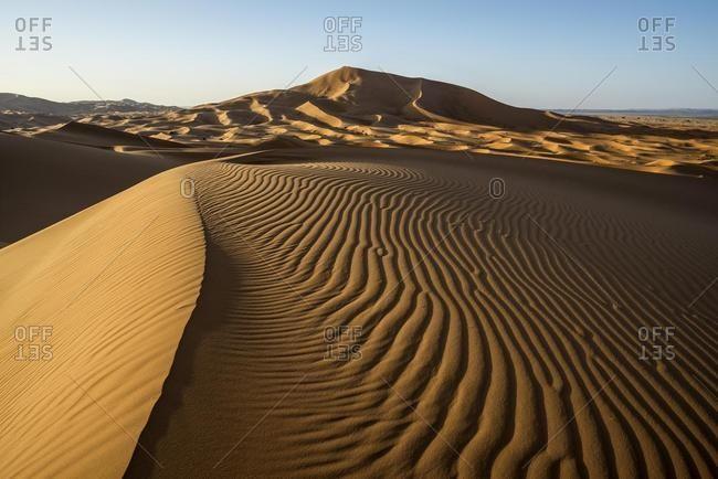 Sand dunes at Merzouga, Meknes-Tafilalet Region, Erg Chebbi, northern Sahara, Morocco, Africa