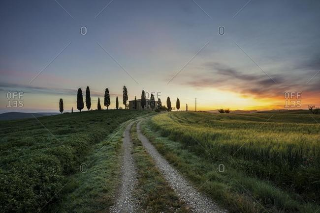 Manor with cypresses, sunrise, near Pienza, Val d'Orcia, Province of Siena, Tuscany, Italy, Europe