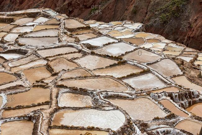 Salt mines of Maras, Sacred Valley of the Incas, Urubamba, Peru, South America