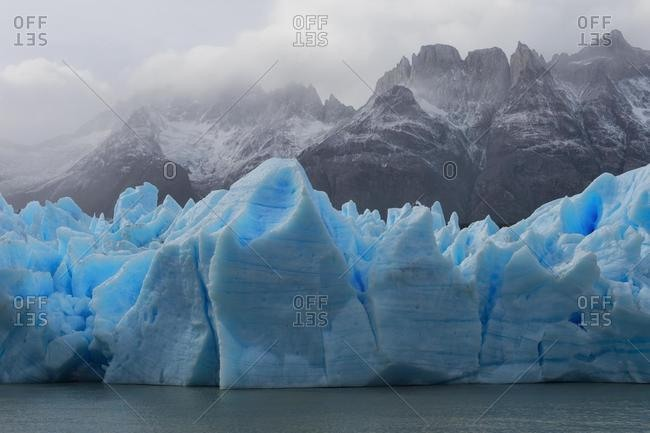 Grey Glacier flowing into the lake, Lago Grey, Torres del Paine National Park, Chilean Patagonia, Chile, South America
