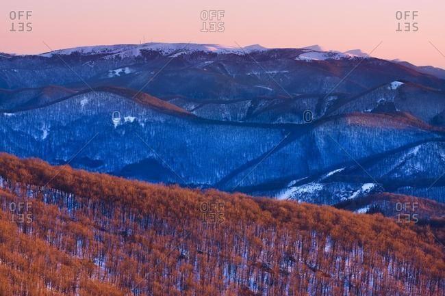 Winter morning, Martinske Hole from Klak, Mala Fatra Mountains, protected landscape area, Slovakia, Europe