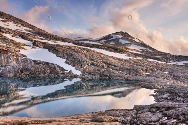 Lake and Litlrago peak, Rago National Park, Nordland county, Norway, Scandinavia, Europe