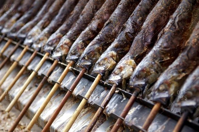 Fish on the stick beeing barbecued