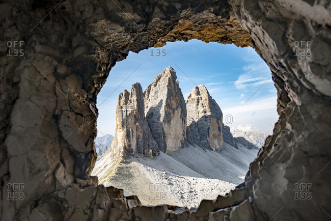 View from war tunnel, via ferrata to the Paternkofel, north walls of the Drei Zinnen, Sexten Dolomites, South Tyrol, Italy, Europe