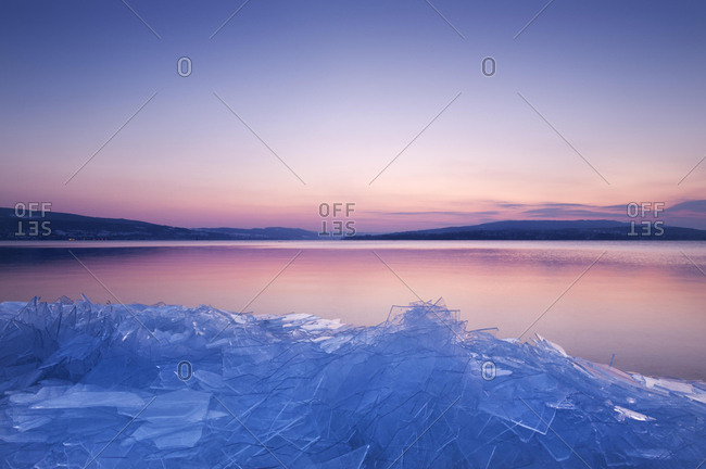 Stacked sheets of ice on the shore of the island of Reichenau, Lake Constance, Konstanz district, Baden-Wuerttemberg, Germany, Europe