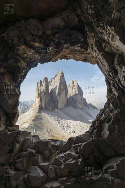 View from war tunnel, via ferrata to the Paternkofel, north walls of the Three Peaks, Sesto Dolomites, South Tyrol, Italy, Europe
