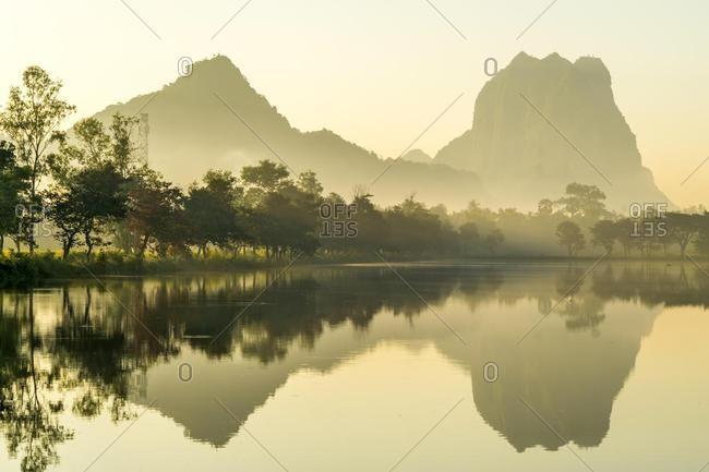 Kan Thar Yar See and Mount Zwegabin, Hpa-an, Myanmar, Asia