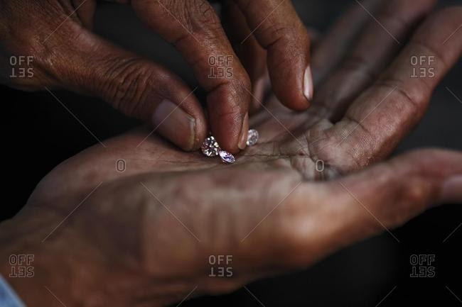 Diamond-cutting industry, Cempaka, South-Kalimantan, Borneo, Indonesia, Asia