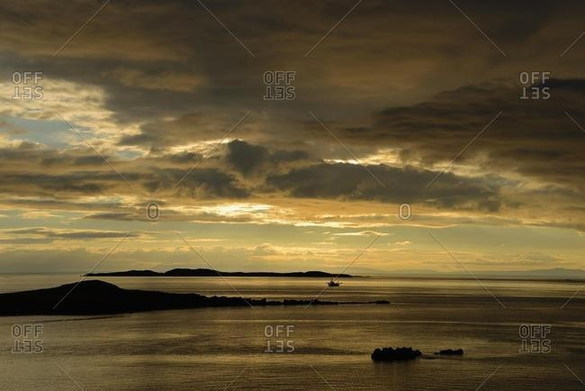 Sunset, Breidafjordur, large shallow bay, Westfjords, Iceland, Europe