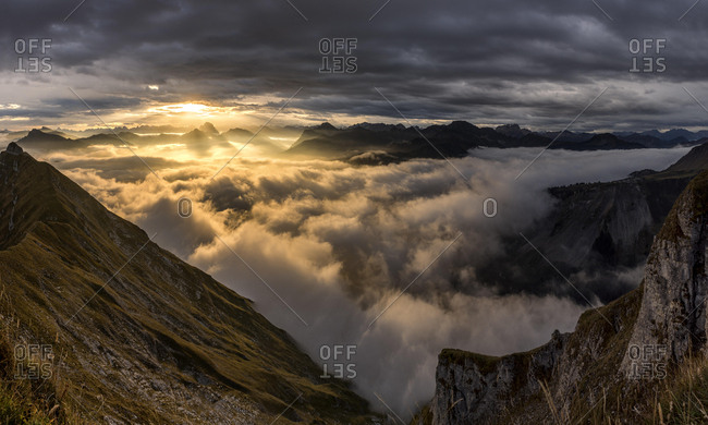 Bregenzerwald mountains with clouds below, sunrise, Au, Bregenz Forest, Vorarlberg, Austria, Europe