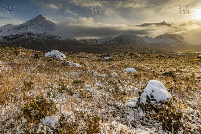 Snowy mountain tops of Ben Lee with clouds in Highland landscape, Sligachan, Portree, Isle of Sky, Scotland, United Kingdom, Europe