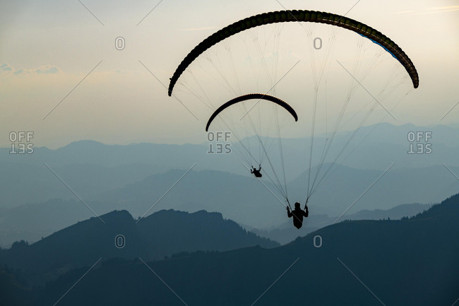 Paragliders over the Appenzeller Land, Wasserauen, Appenzell, Switzerland, Europe