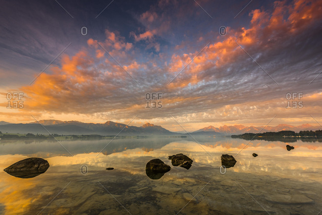 Forggensee with reflection of the cloudy sky and the Allgauer mountains in the background at sunrise, Fussen, Allgau, Bavaria, Germany, Europe