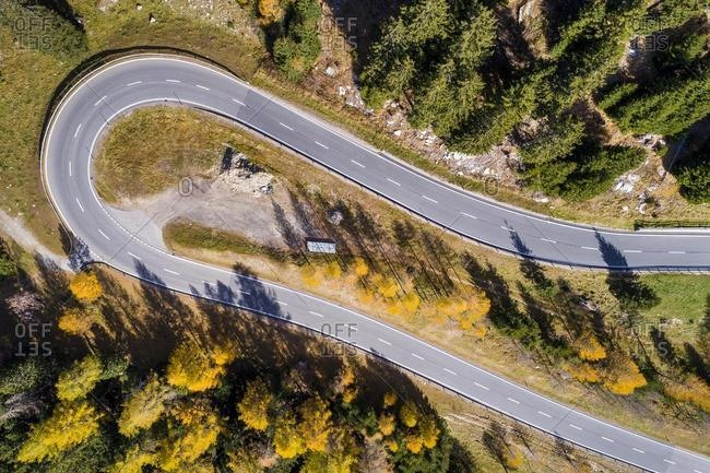 Hairpin bend, Pass road, Maloja pass, Canton Grisons, Switzerland, Europe