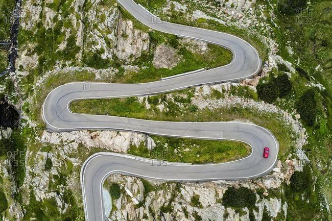 Aerial view, curvy pass road San Bernadino Pass, canton Graubunden, Switzerland, Europe