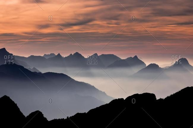 Swiss Alps in the evening light, East Switzerland, Switzerland, Europe