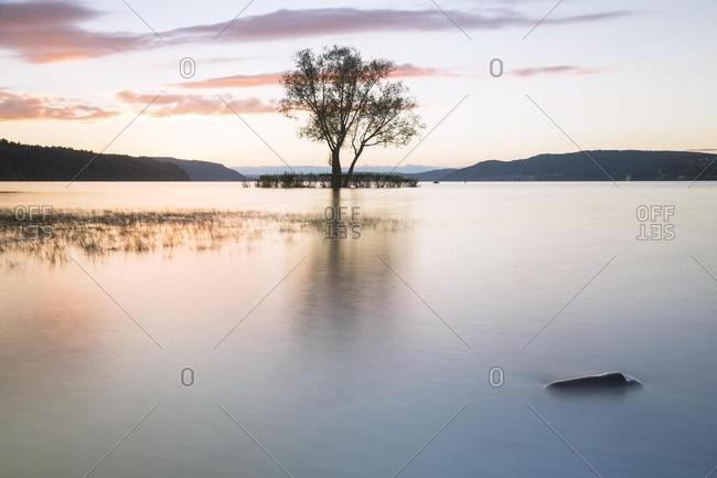 Evening atmosphere with sunset at the lido Klausenhorn, Dingelsdorf, Constance, Baden-Wurttemberg, Germany, Europe