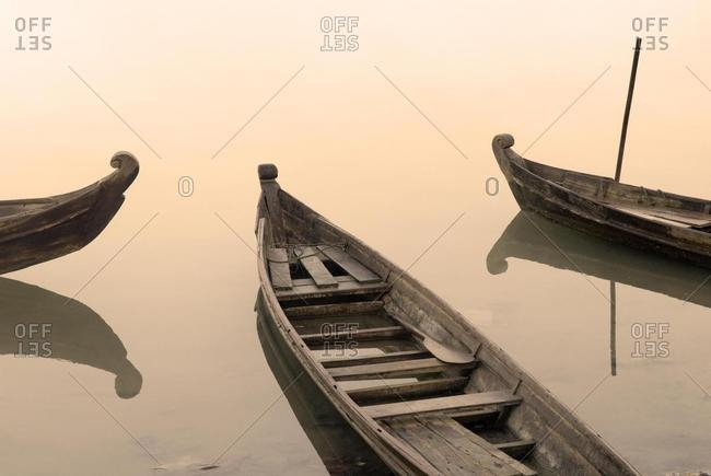 Traditional fishingboat on the Irrawaddy river, Myanmar, Asia
