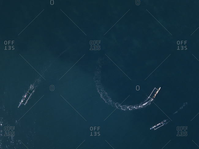 Aerial view of boats,Sumbawa,Indonesia