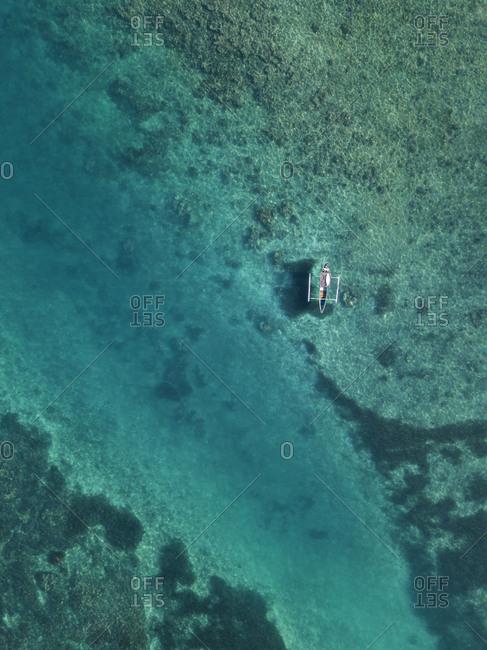 Aerial view of Banca boat,Sumbawa,Indonesia