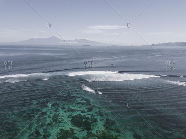 Aerial view at Rinjani volcano at Lombok island from Sumbawa island
