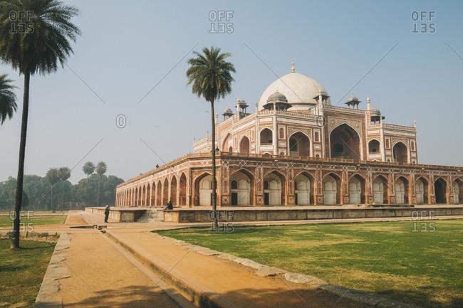 Humayun's tomb complex and palm trees, delhi, india.