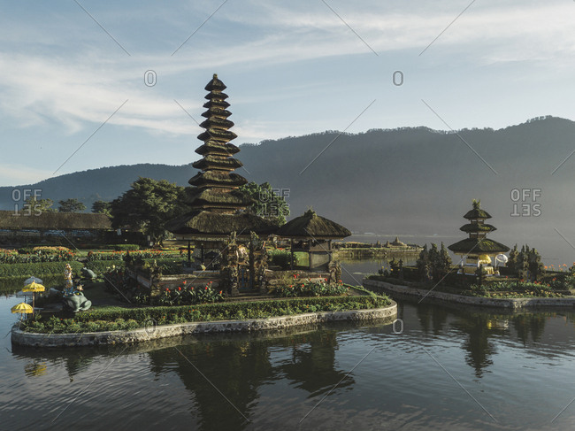 Aerial view of temple pura ulun danu, baratan lake