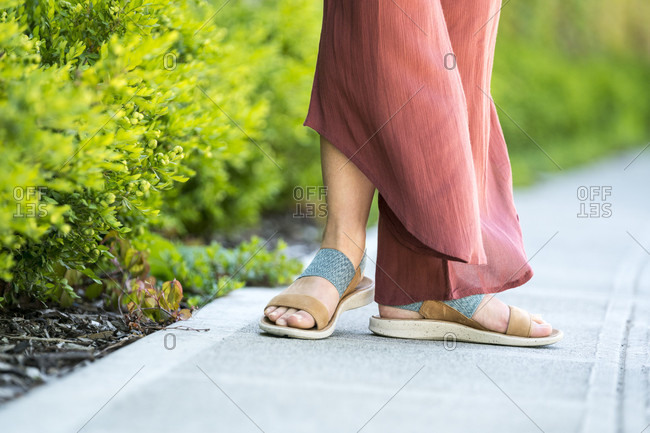 Focus on woman's sandals
