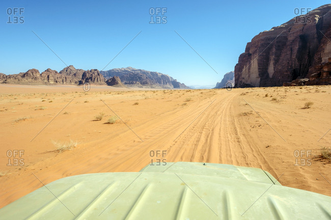 View from the roof of a four-wheel drive vehicle in wadi rum, jordan