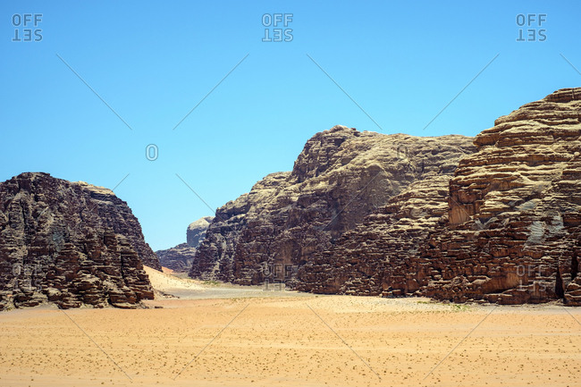 Rock outcrop in wadi rum protected area, jordan