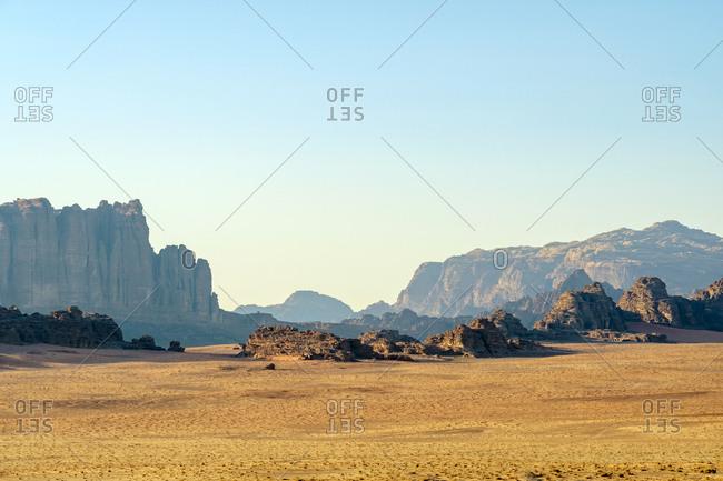 Desert landscape in wadi rum protected area, jordan