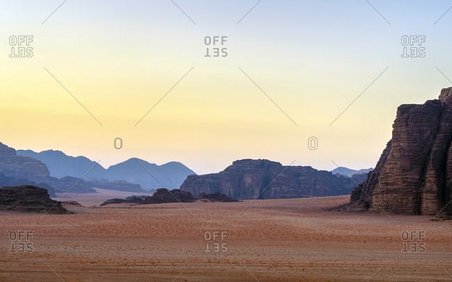 Rock outcrops at sunset in wadi rum protected area, jordan