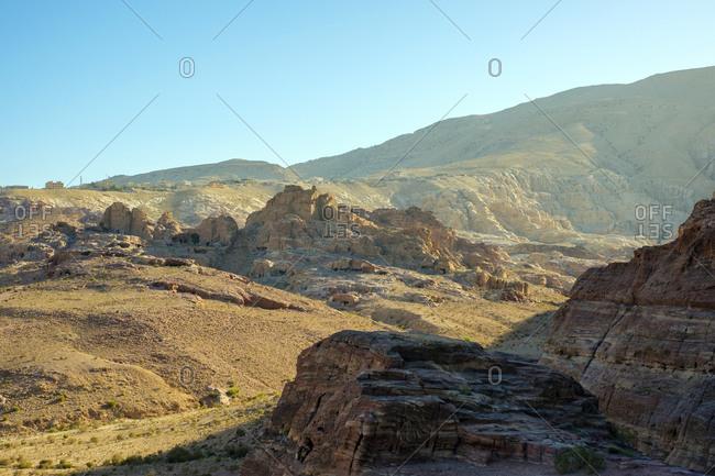 Rocky desert landscape, petra, unesco world heritage site, jordan