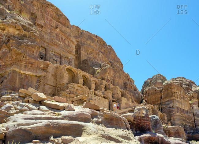 Jordan, ma'an governorate, wadi musa - june 6, 2017: the urn tomb, petra archaeological park, jordan
