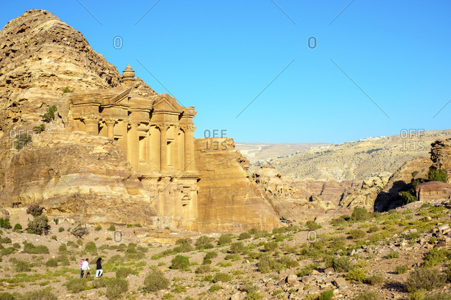 Ad-deir, the monastery carved into sandstone cliff face, petra, jordan