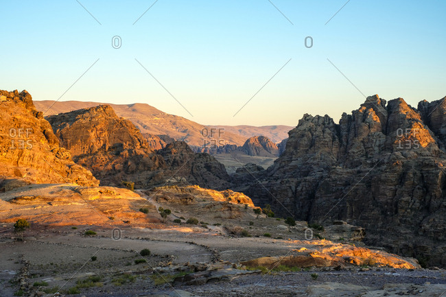 Desert landscape near ad-deir at sunset, petra, jordan