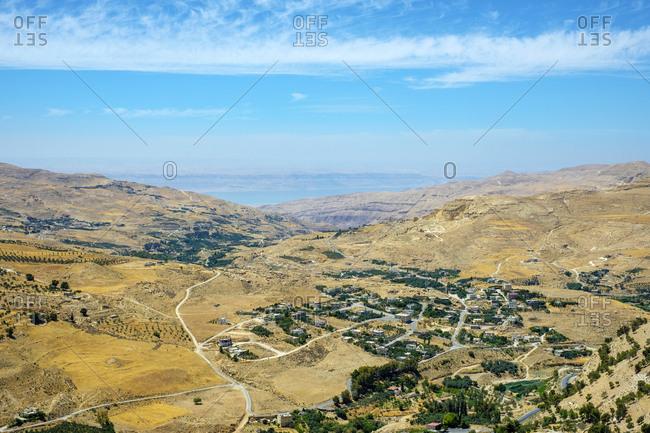 View from kerak castle, nearby village, karak, jordan