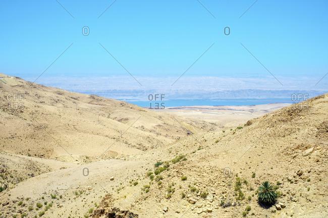 Desert landscape near the dead sea, jordan