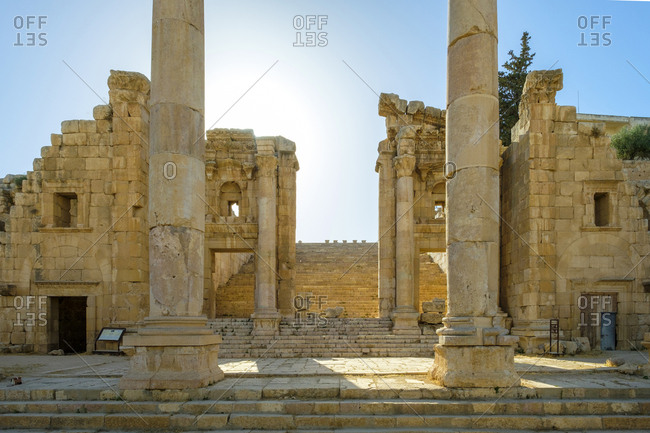 Nymphaeum in ancient roman city of gerasa, jerash, jordan